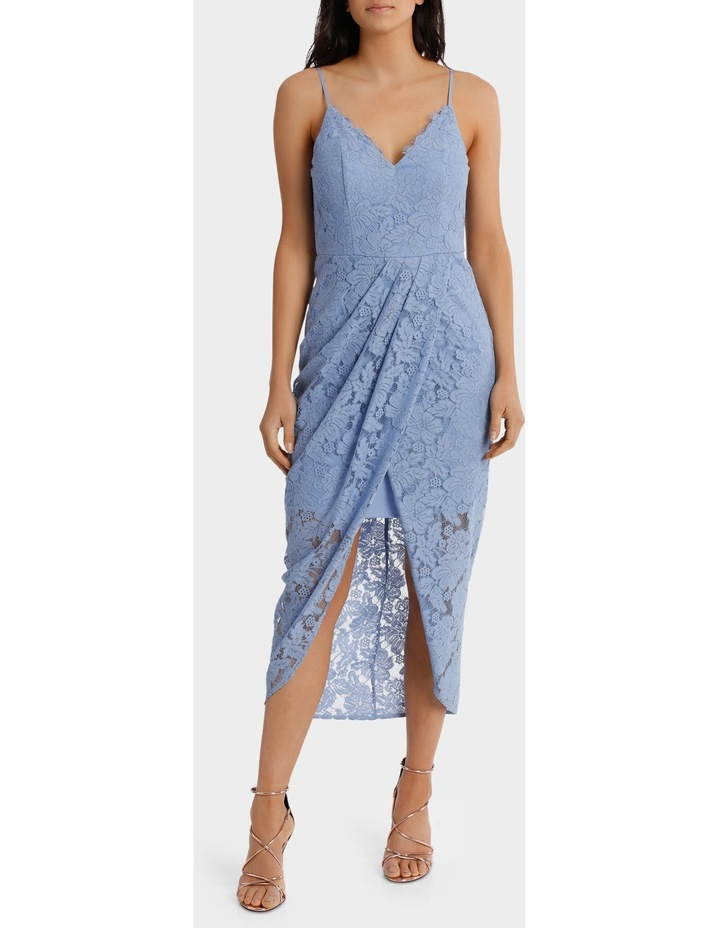 Forever Blue Corded Lace Wrap Dress image 1