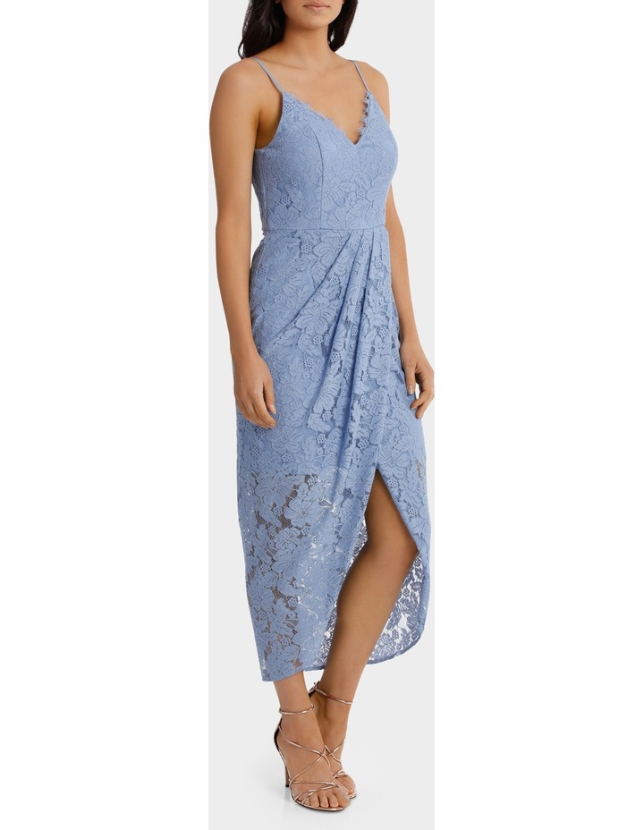 Forever Blue Corded Lace Wrap Dress image 2
