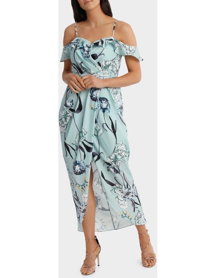 Mint Petal Print Flutter Off The Shoulder Dress image 1