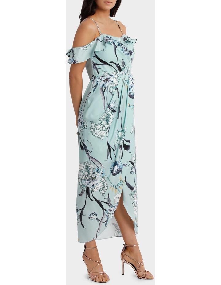 Mint Petal Print Flutter Off The Shoulder Dress image 2