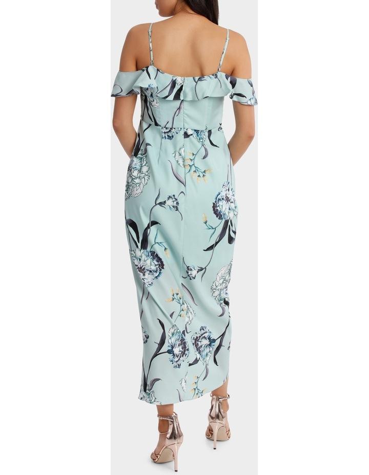 Mint Petal Print Flutter Off The Shoulder Dress image 3