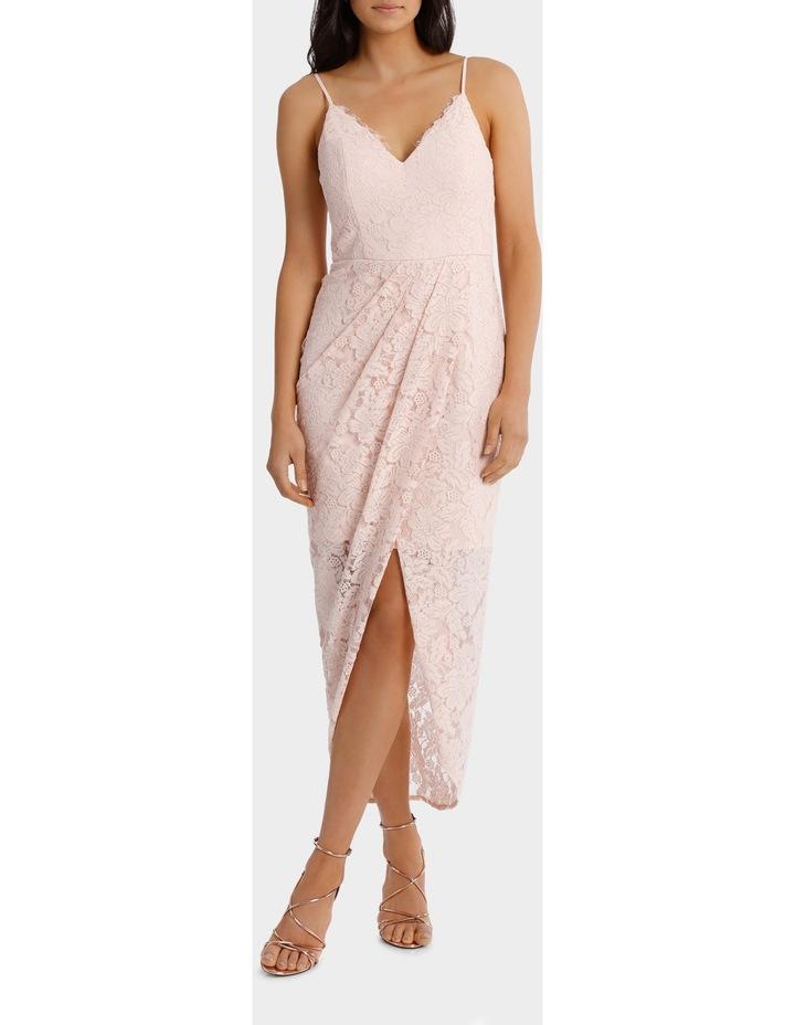 Lt Pink Corded Lace Wrap Dress image 1