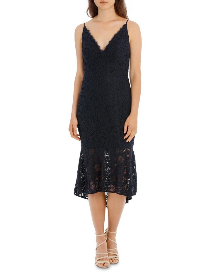 Navy Flounce Hem Lace Dress image 1