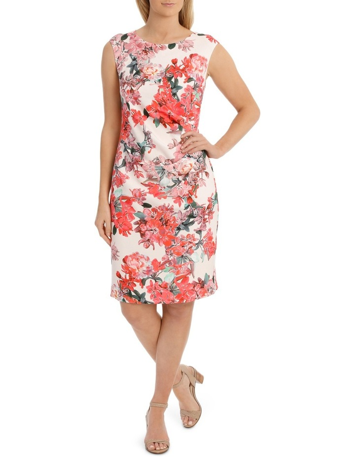 Painterly Floral Structured Dress with Rouching Detail image 1