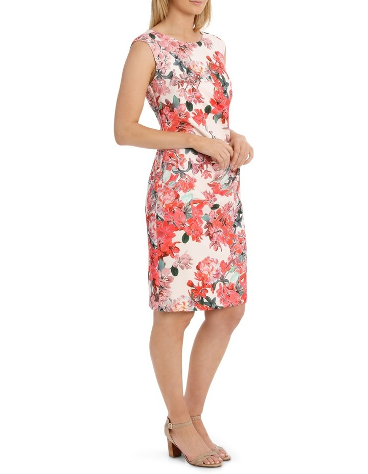 Painterly Floral Structured Dress with Rouching Detail image 2