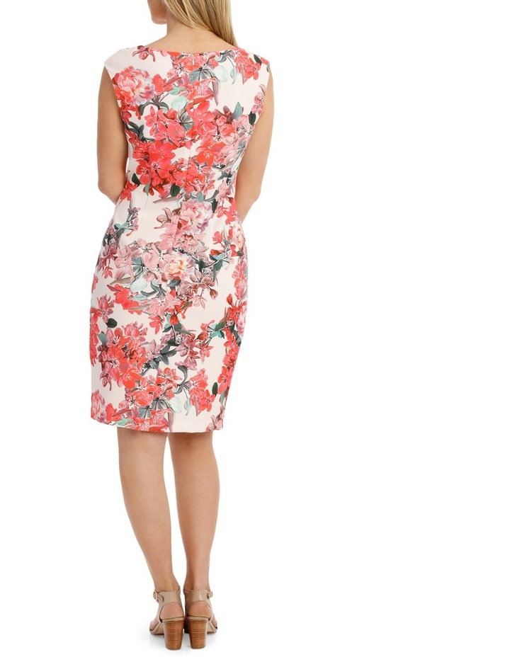 Painterly Floral Structured Dress with Rouching Detail image 3