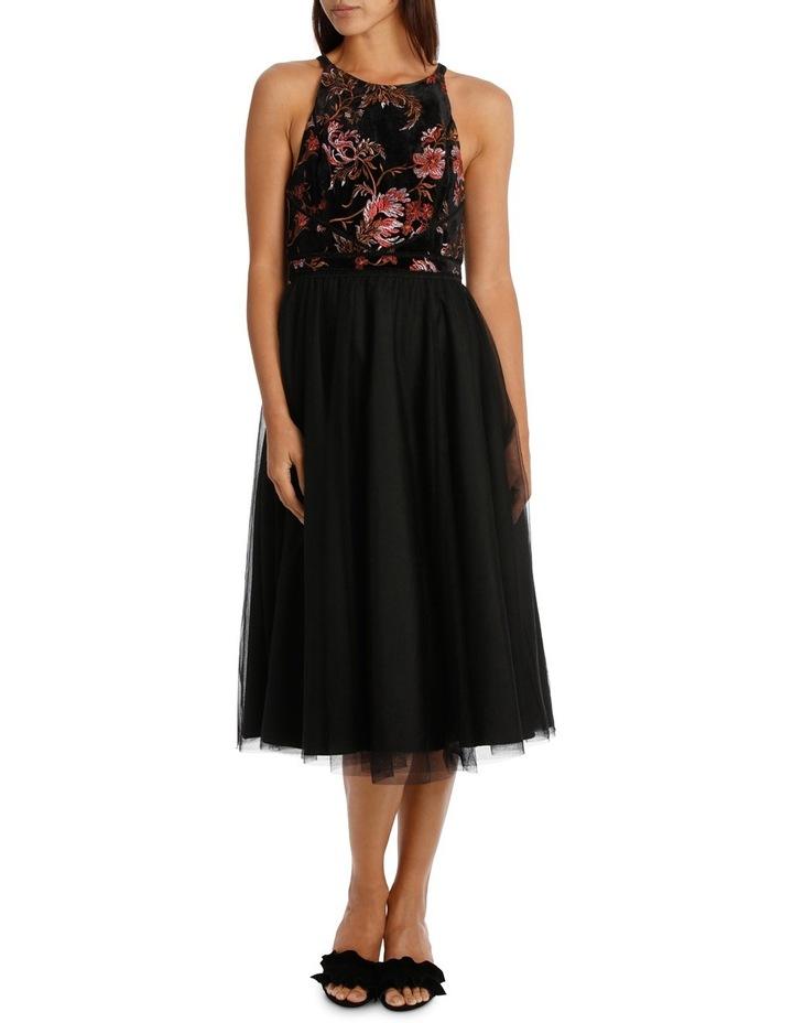Velvet Embroided Bodice Dress image 1