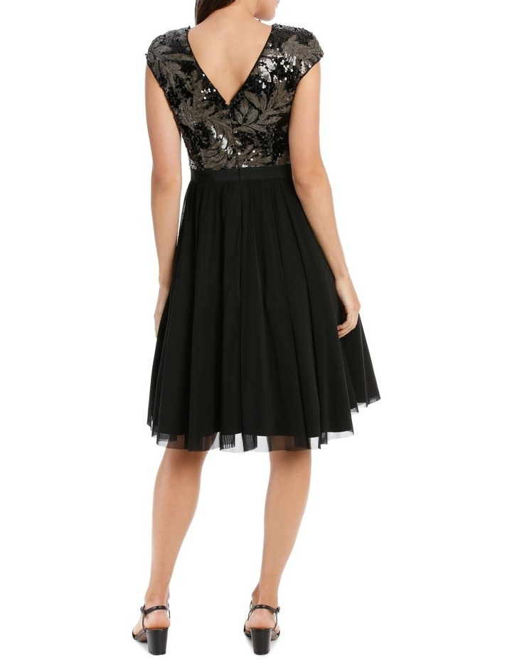 Leaf Sequin Bodice Fit And Flare Dress image 3