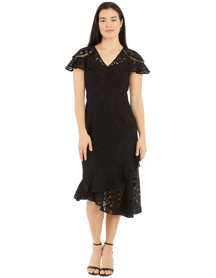 Collection Black V Neck Layered Lace Dress