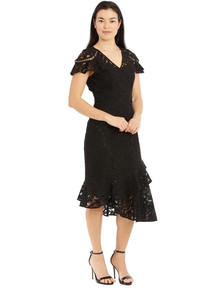 Black V-Neck Layered Lace Dress image 2