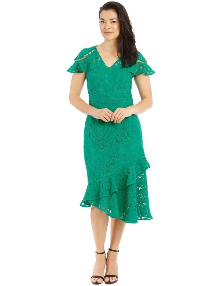 Emerald V-Neck Layered Lace Dress image 1