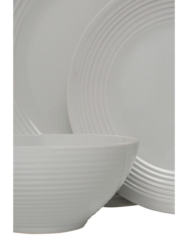 Austin Ridged Rim Stoneware 12 Piece Dinnerset - Grey image 2