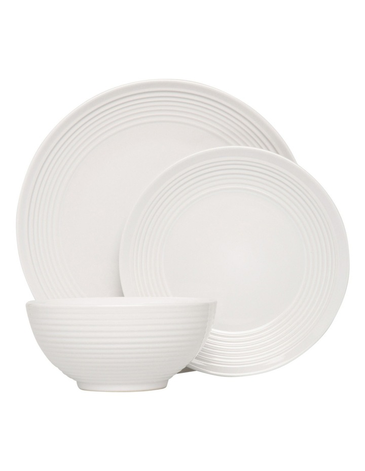 Austin Ridged Rim Stoneware 12 Piece Dinner Set - White image 1
