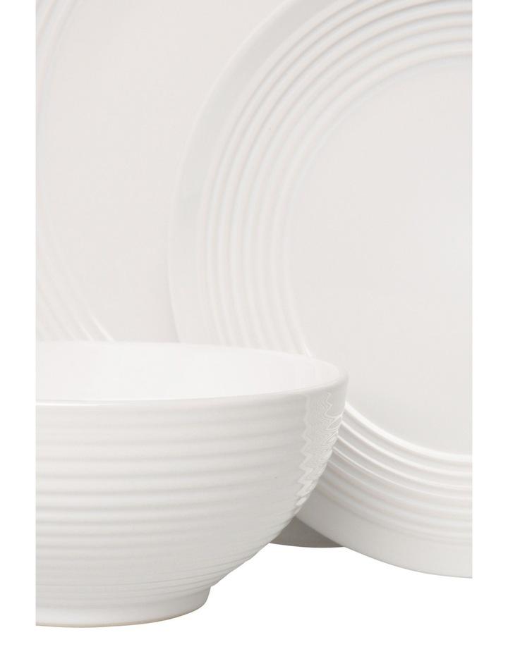 Austin Ridged Rim Stoneware 12 Piece Dinner Set - White image 2