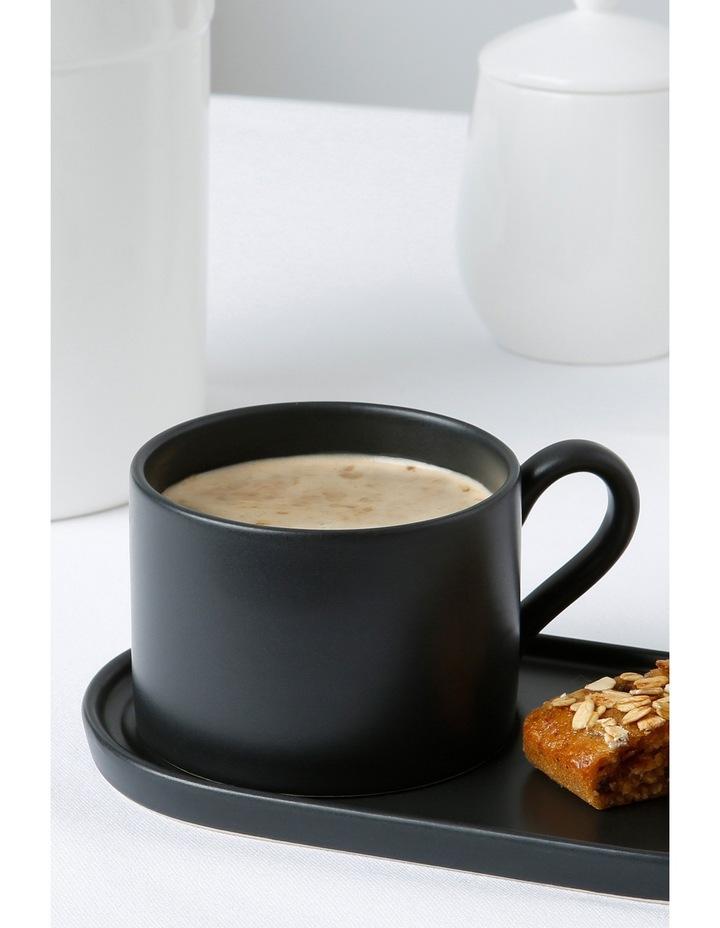 Coffee Break Stoneware Cup & Biscuit Saucer Set Matte - Black image 2