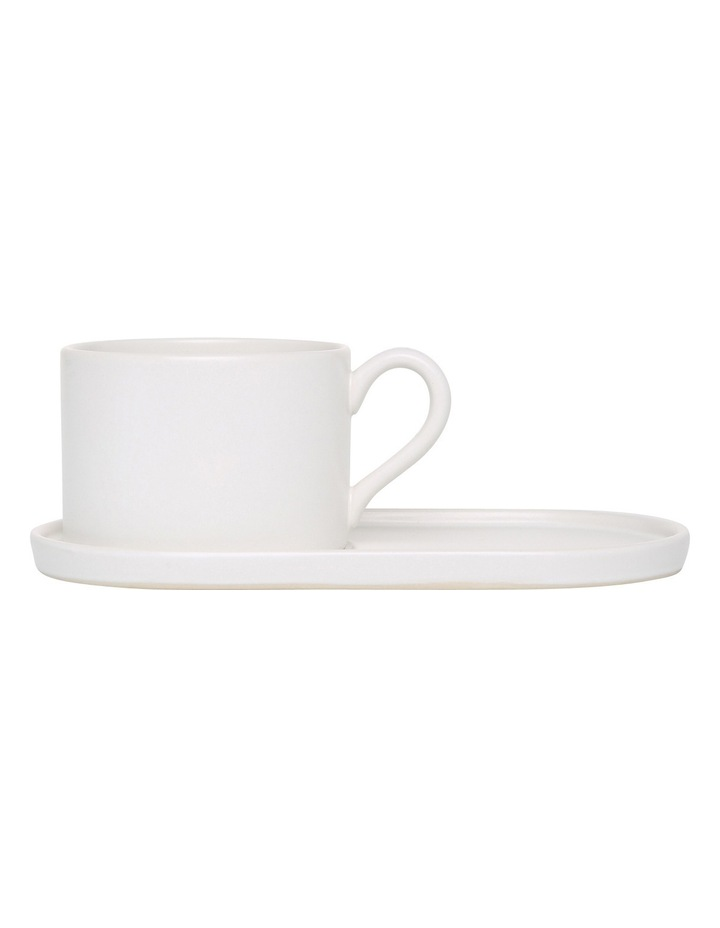 Coffee Break Stoneware Cup & Biscuit Saucer Set Matte - White image 1
