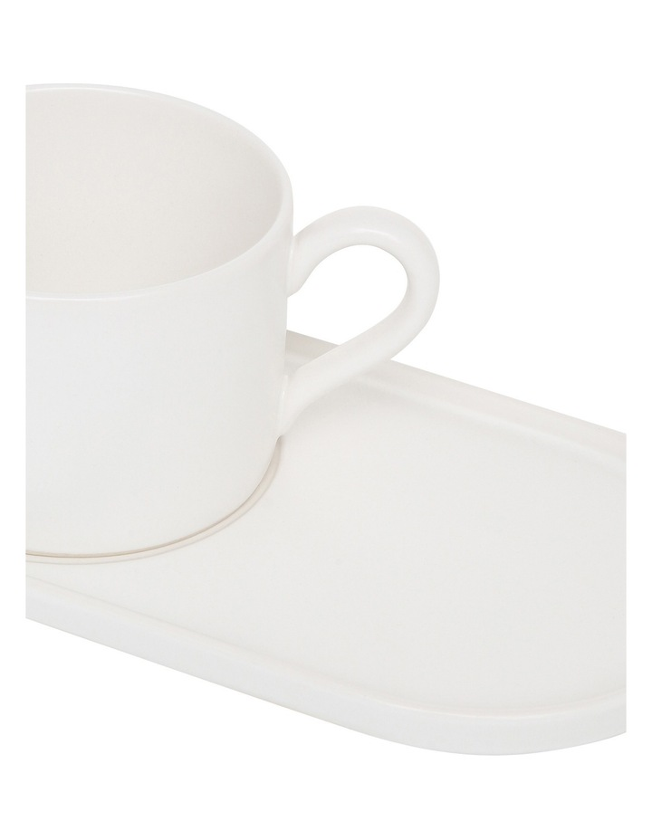 Coffee Break Stoneware Cup & Biscuit Saucer Set Matte - White image 2