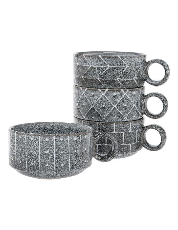 Tribal Geo Reactive Glaze Soup Mug 4pc image 1