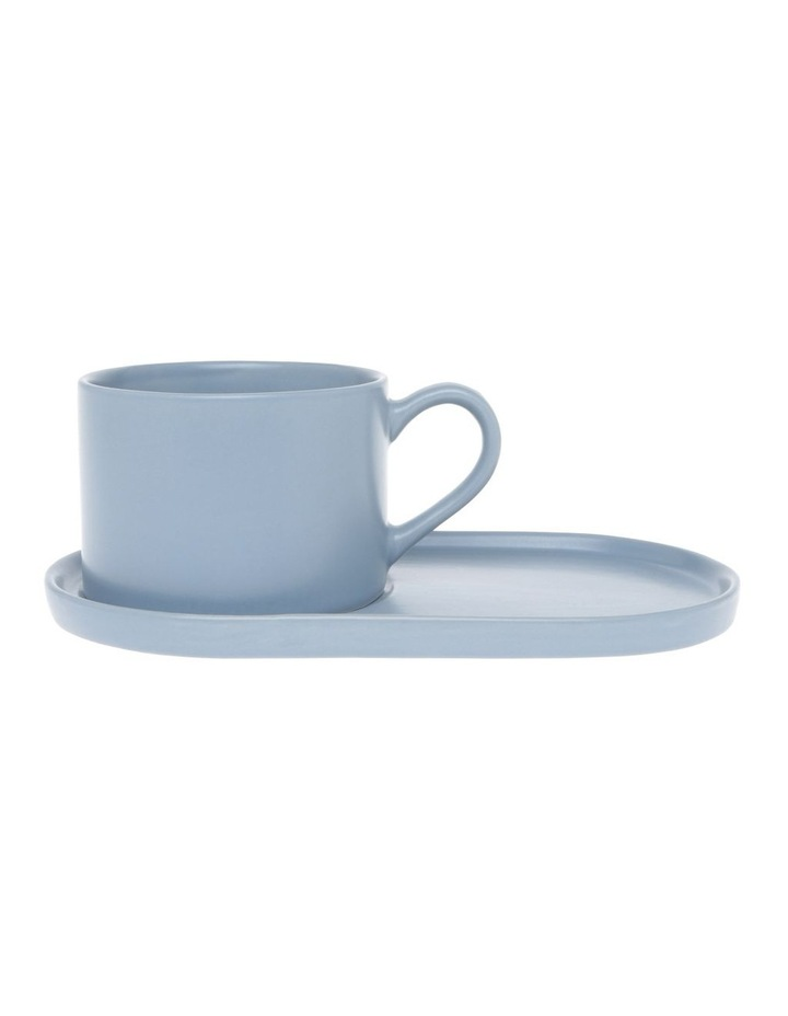 Coffee Break Stoneware Cup & Biscuit Saucer Set Matte Blue image 2