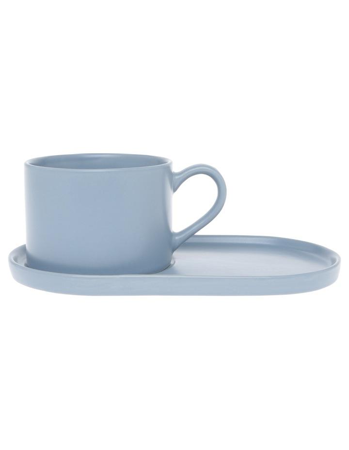 Coffee Break Stoneware Cup & Biscuit Saucer Set Matte Blue image 2