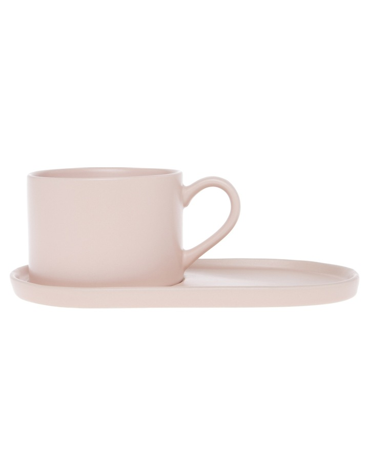 Coffee Break Stoneware Cup & Biscuit Saucer Set Matte Pink image 1