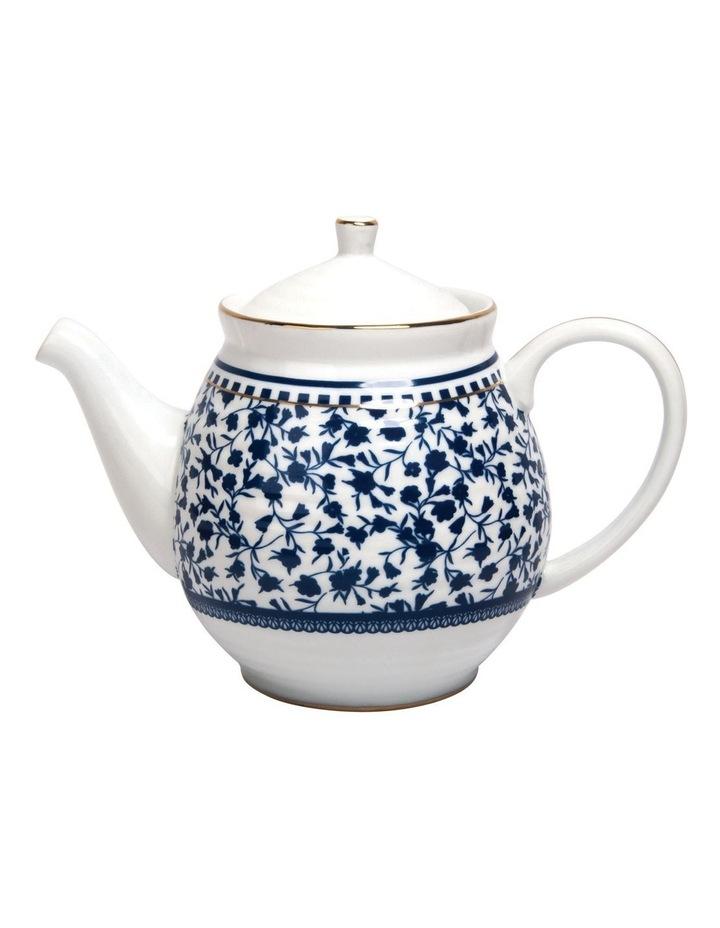 Floral Sprig Ribbed Teapot image 1