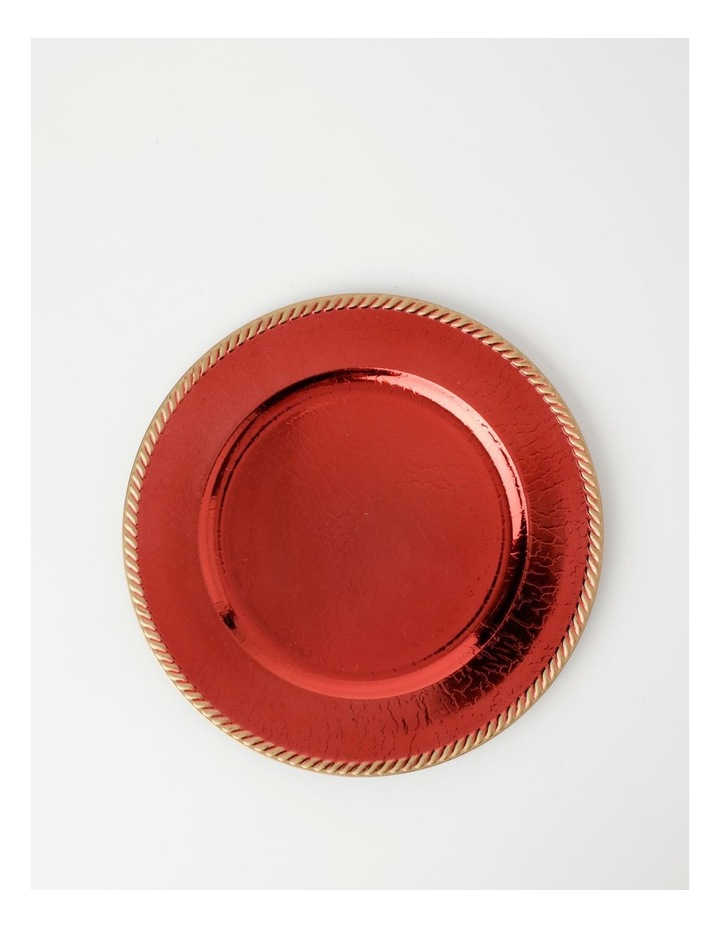Heirloom Charger Plate Set of 4 Red with Rope Edge image 1