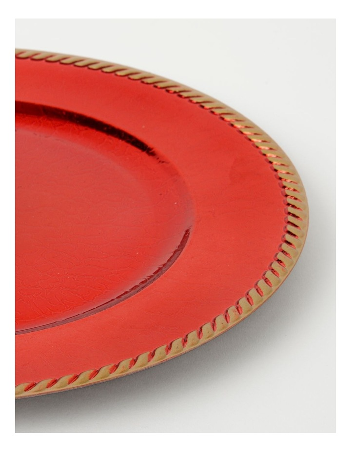 Heirloom Charger Plate Set of 4 Red with Rope Edge image 2