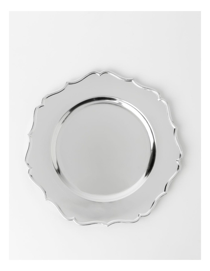 Heirloom Charger Plate Set of 4 Silver Scalloped Edge image 1
