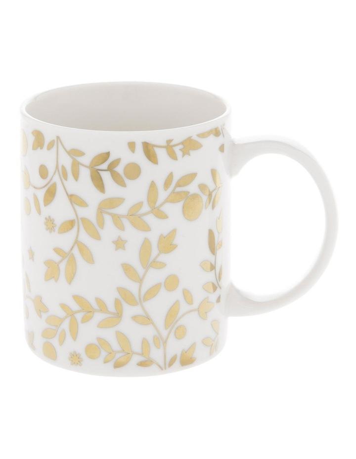 Gold-Look Leaf and Star Mug image 1