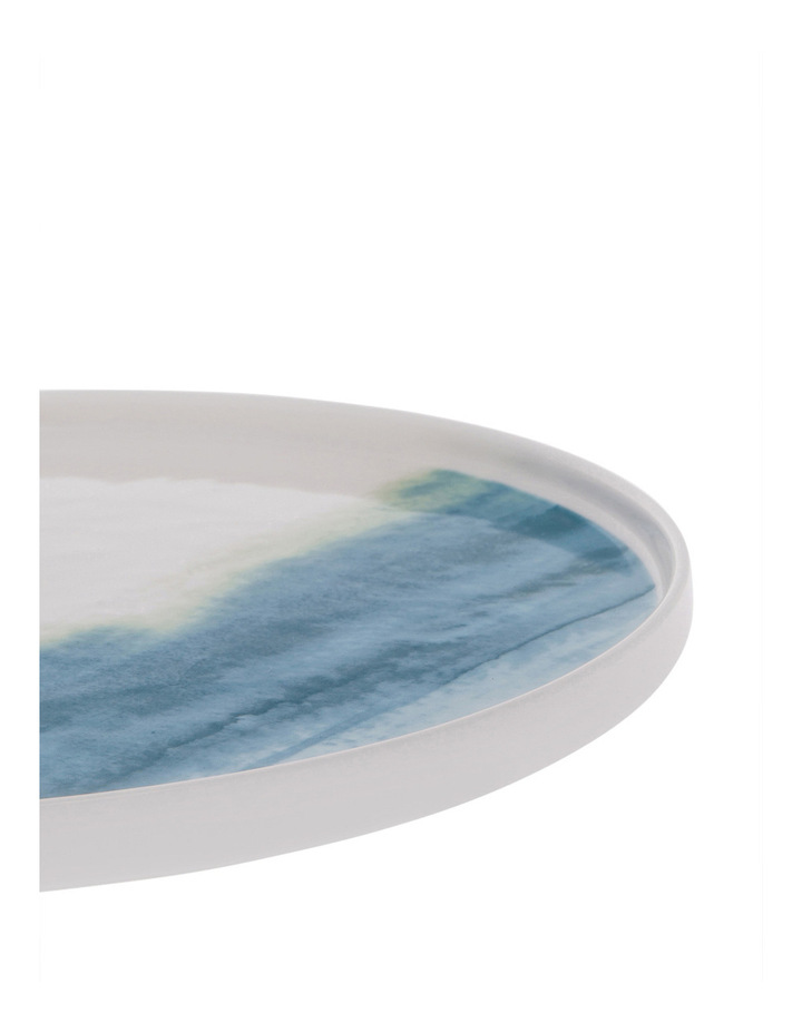 Blue Washed Rimmed Glazed Dinner Plate 27cm image 2