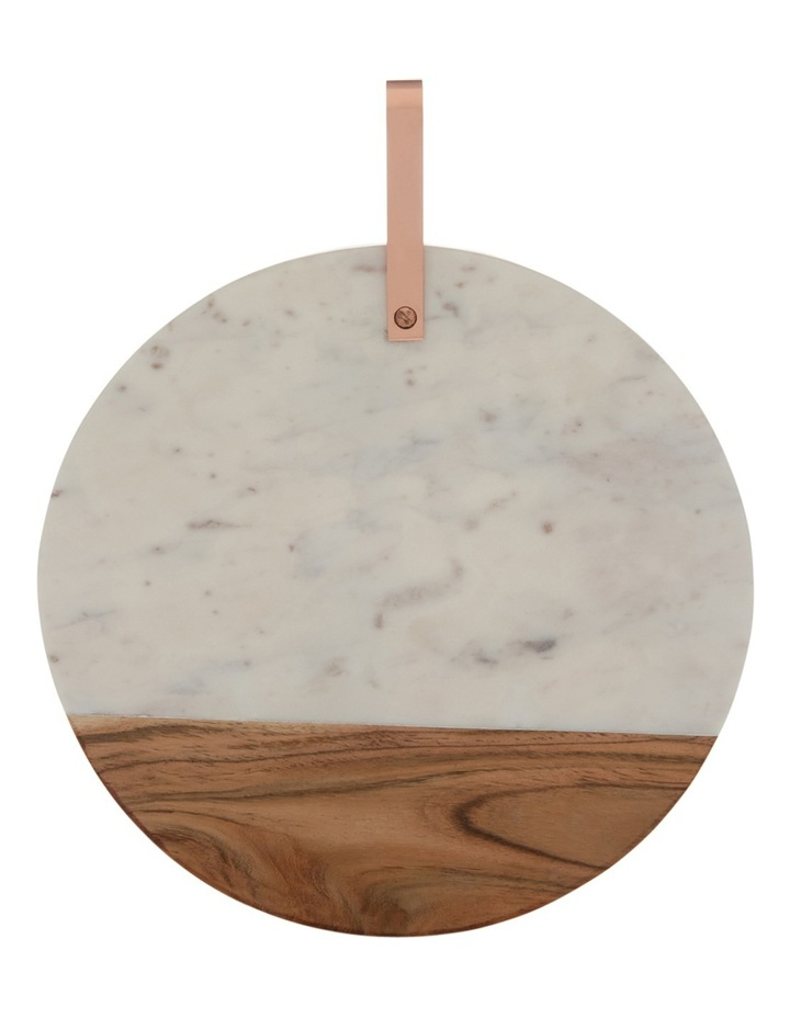 Marble and Wood Board with Copper Handle image 1