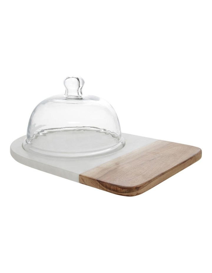 Marble And Wood Board With Glass Dome image 1