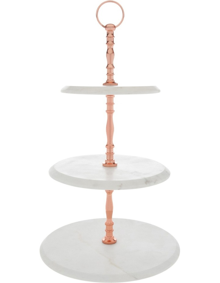 Marble 3 Tier Cake Stand with Copper Handle image 1