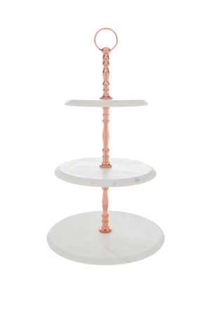 Heritage - Marble 3 Tier Cake Stand with Copper Handle