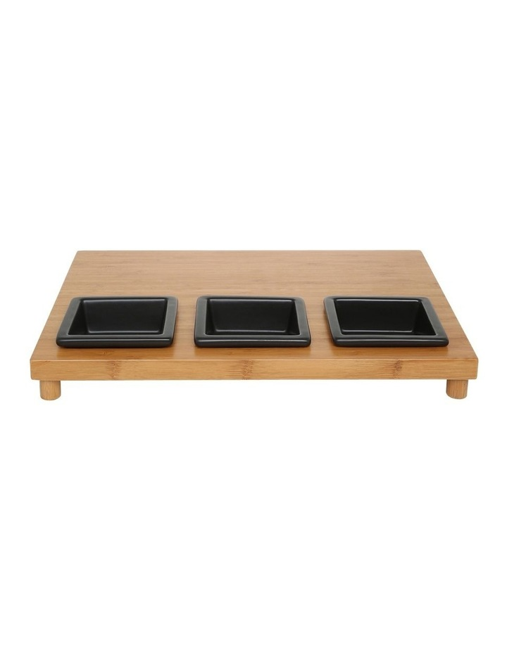 4 Piece Stoneware Serving Set with Bamboo Tray image 1