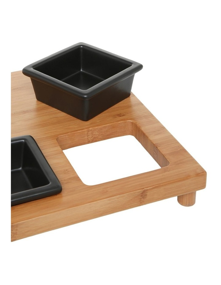 4 Piece Stoneware Serving Set with Bamboo Tray image 2