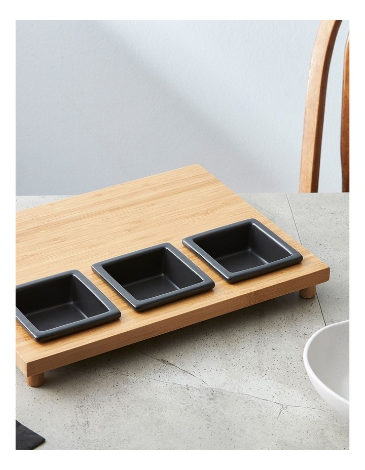 4 Piece Stoneware Serving Set with Bamboo Tray image 3