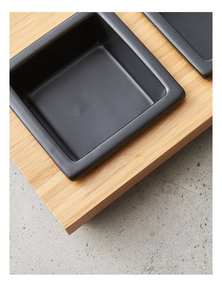 4 Piece Stoneware Serving Set with Bamboo Tray image 4
