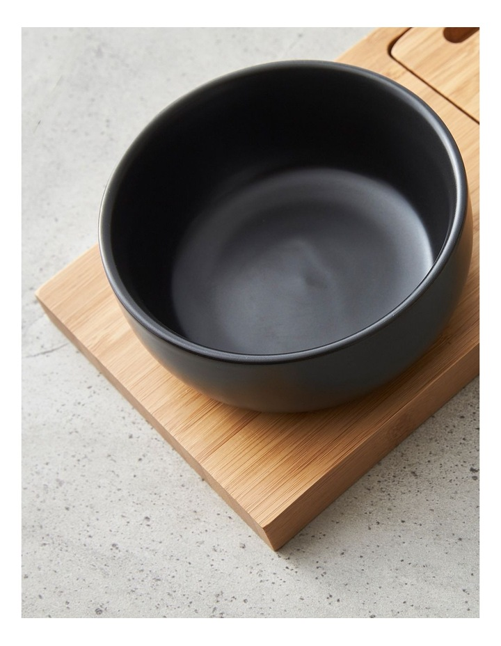 Stoneware Bowl with Bamboo Bread Board image 3