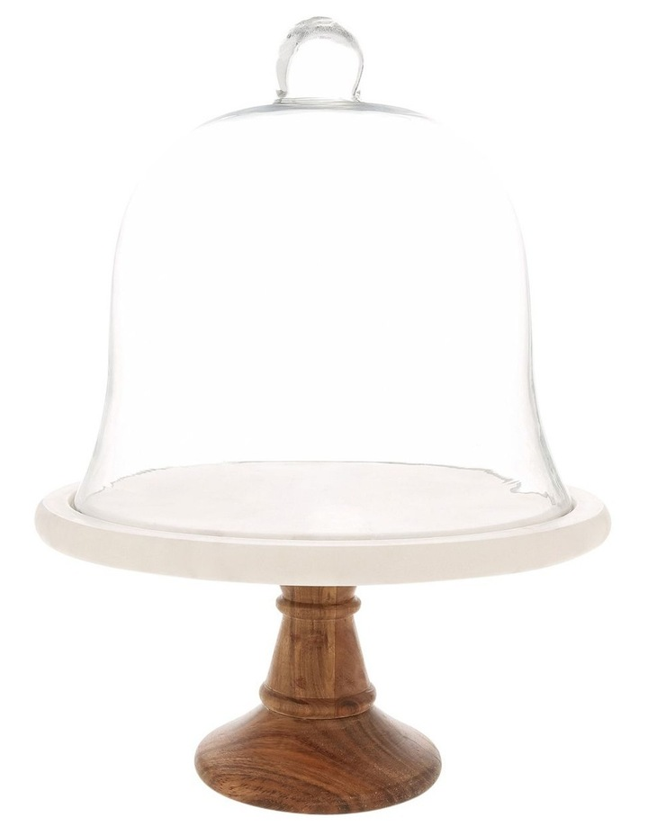 Wood & Marble Footed Stand With Glass Dome image 1