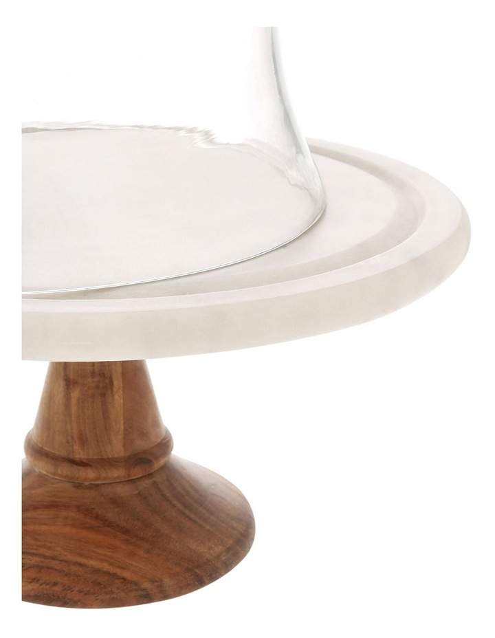 Wood & Marble Footed Stand With Glass Dome image 2