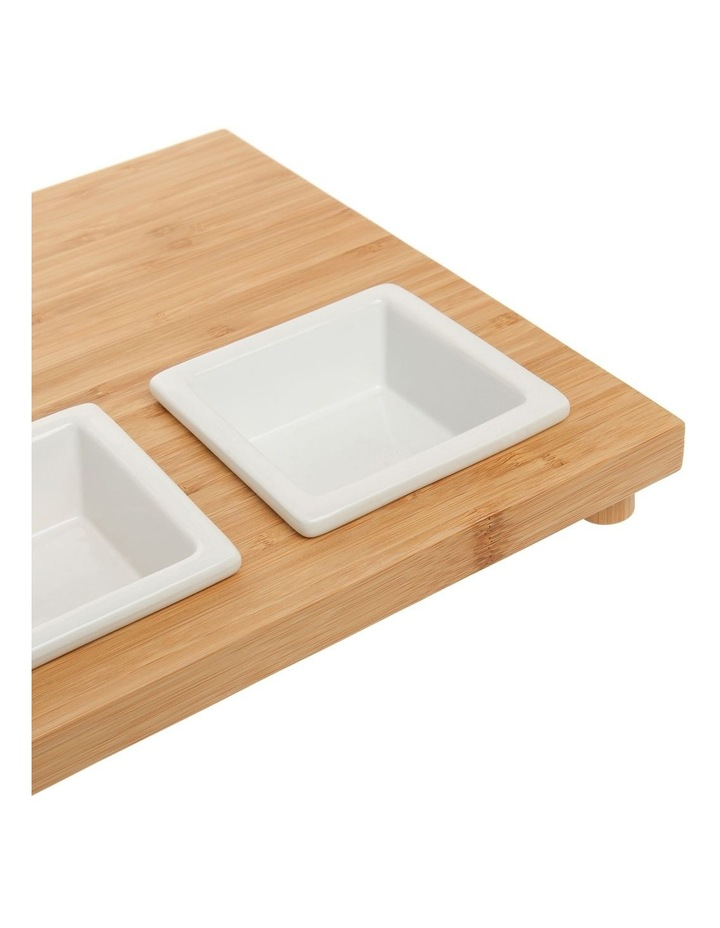 Essentials 4 Piece Stoneware Serveware Set With Bamboo Tray image 2