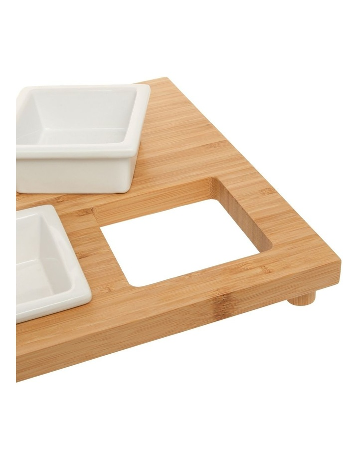 Essentials 4 Piece Stoneware Serveware Set With Bamboo Tray image 3