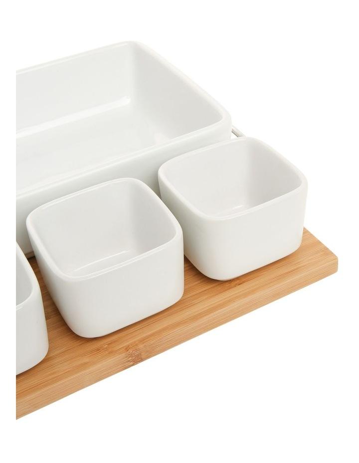Essentials 5 Piece Stoneware Serveware Set With Bamboo Tray image 2