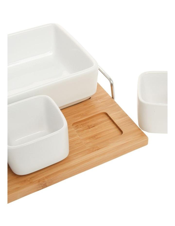 Essentials 5 Piece Stoneware Serveware Set With Bamboo Tray image 3