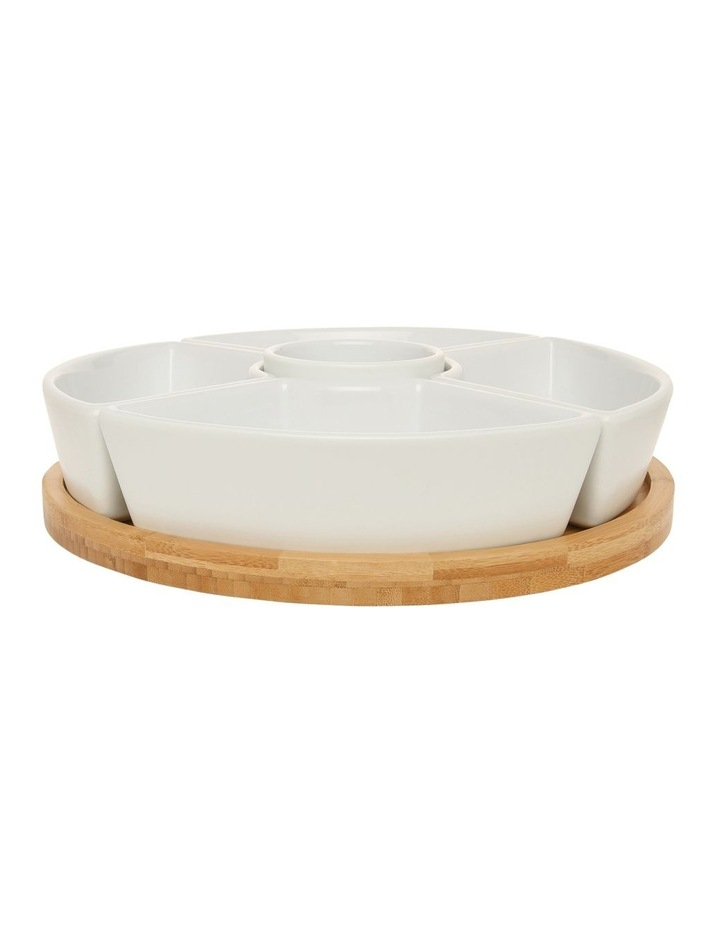 Essentials 6 Piece Stoneware Chip And Dip Set With Rotating Bamboo Tray image 1