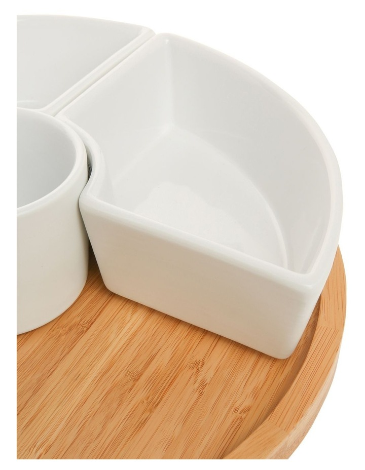 Essentials 6 Piece Stoneware Chip And Dip Set With Rotating Bamboo Tray image 3
