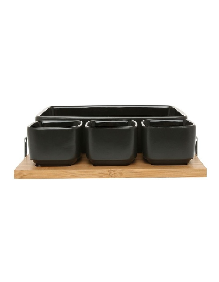 Essentials 5 Piece Stoneware Serveware Set With Bamboo Tray image 1