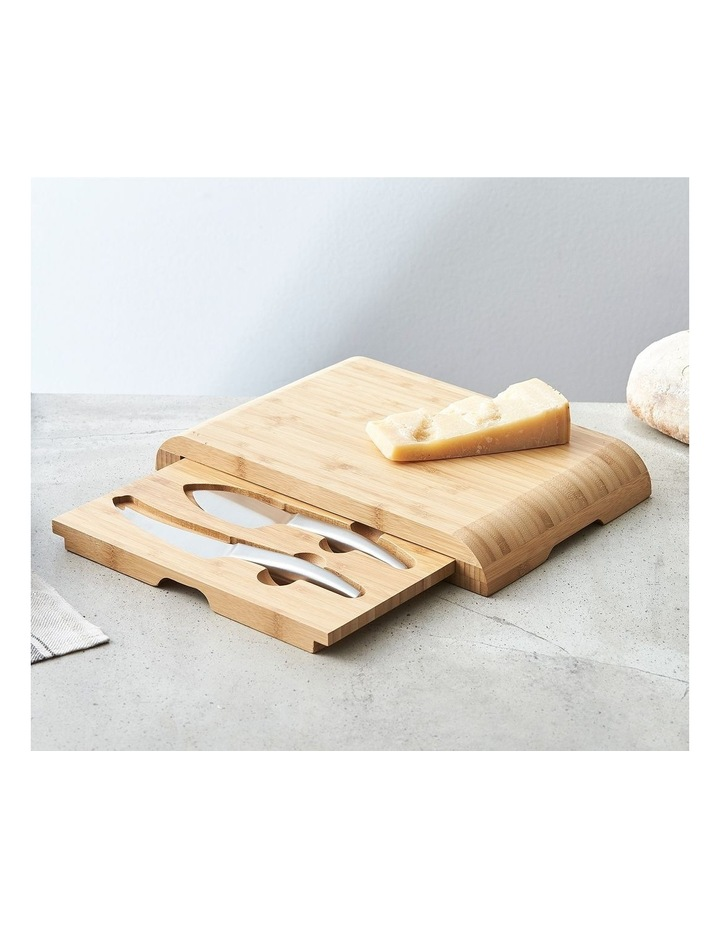 Essentials Bamboo Cheese Board With Drawer & 2 Piece Knife Set image 1